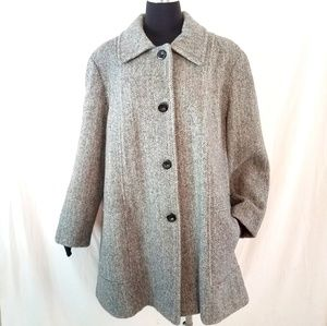 Vintage Wool Chevron Tweed Women's Coat